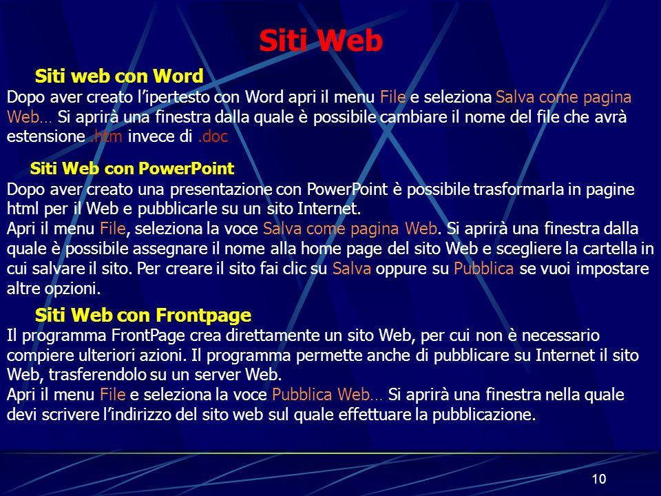 Siti Web Siti web con Word Siti Web con Frontpage