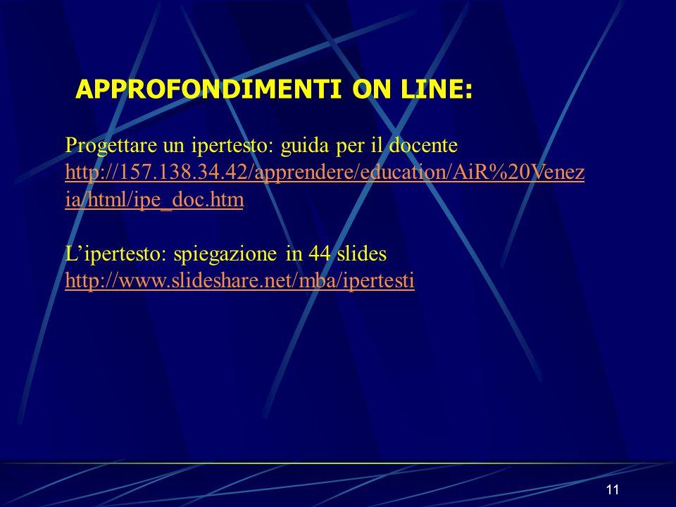 APPROFONDIMENTI ON LINE: