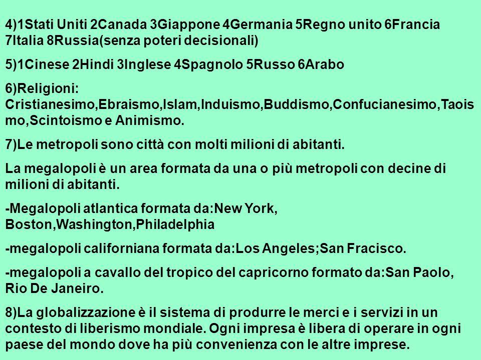 4)1Stati Uniti 2Canada 3Giappone 4Germania 5Regno unito 6Francia 7Italia 8Russia(senza poteri decisionali)