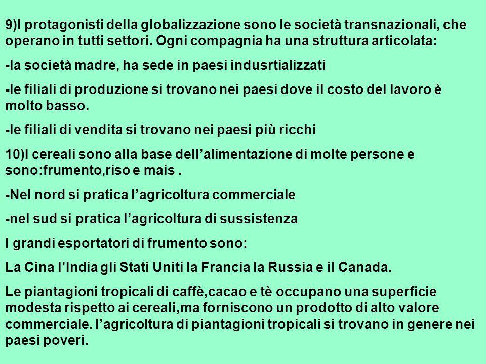 9)I protagonisti della globalizzazione sono le società transnazionali, che operano in tutti settori. Ogni compagnia ha una struttura articolata: