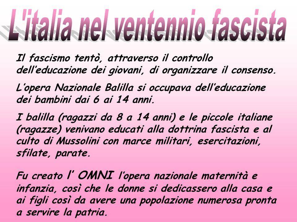 L italia nel ventennio fascista