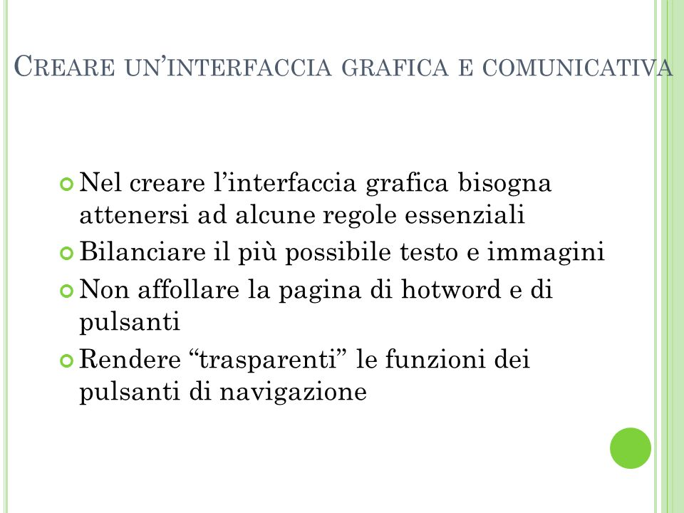 Creare un'interfaccia grafica e comunicativa