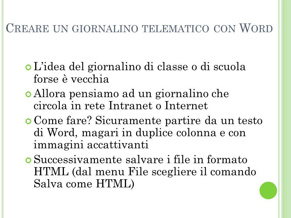 Creare un giornalino telematico con Word