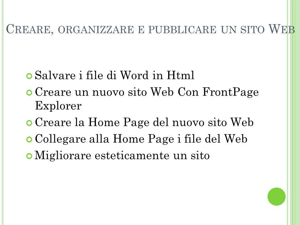 Creare, organizzare e pubblicare un sito Web