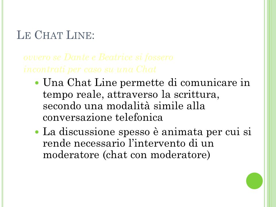 Le Chat Line: ovvero se Dante e Beatrice si fossero. incontrati per caso su una Chat.