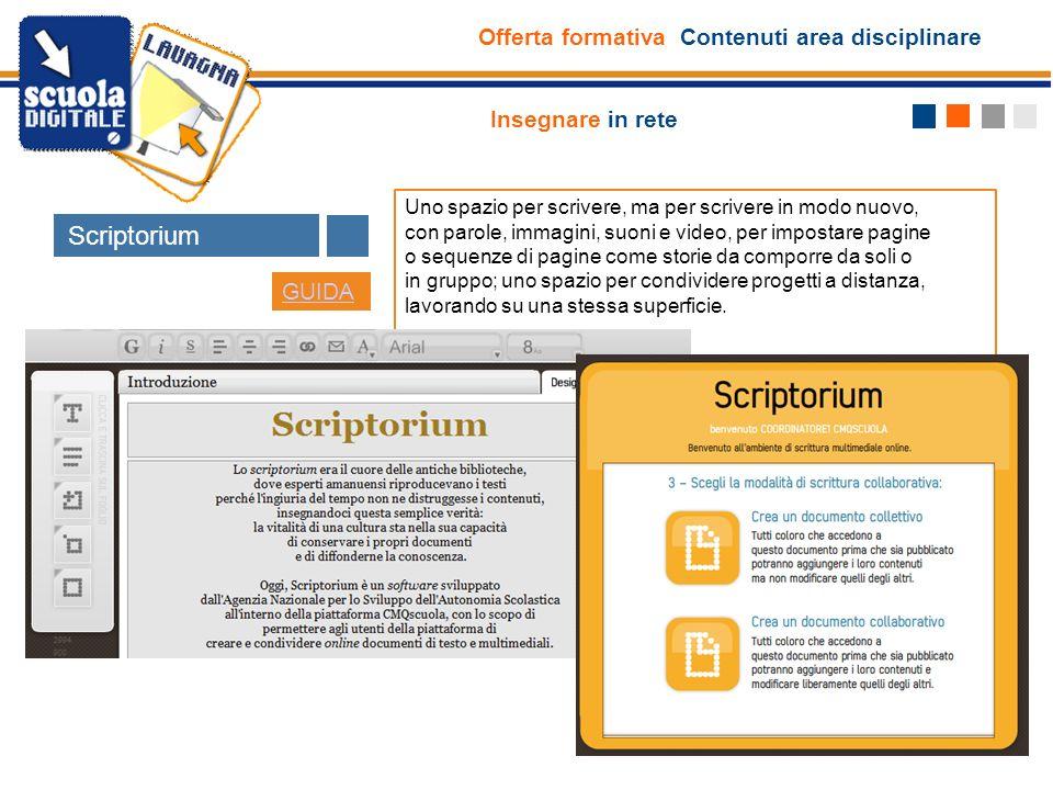 Scriptorium Offerta formativa Contenuti area disciplinare
