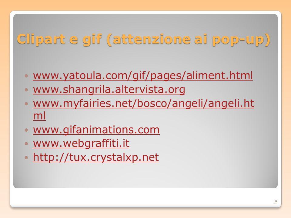 Clipart e gif (attenzione ai pop-up)
