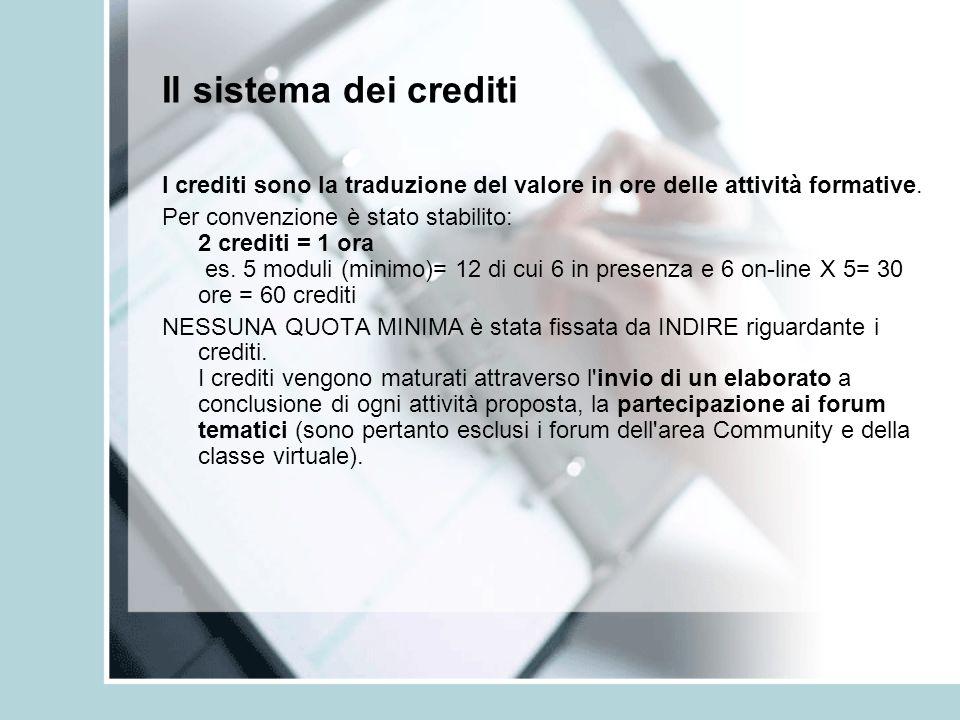 Il sistema dei crediti I crediti sono la traduzione del valore in ore delle attività formative.