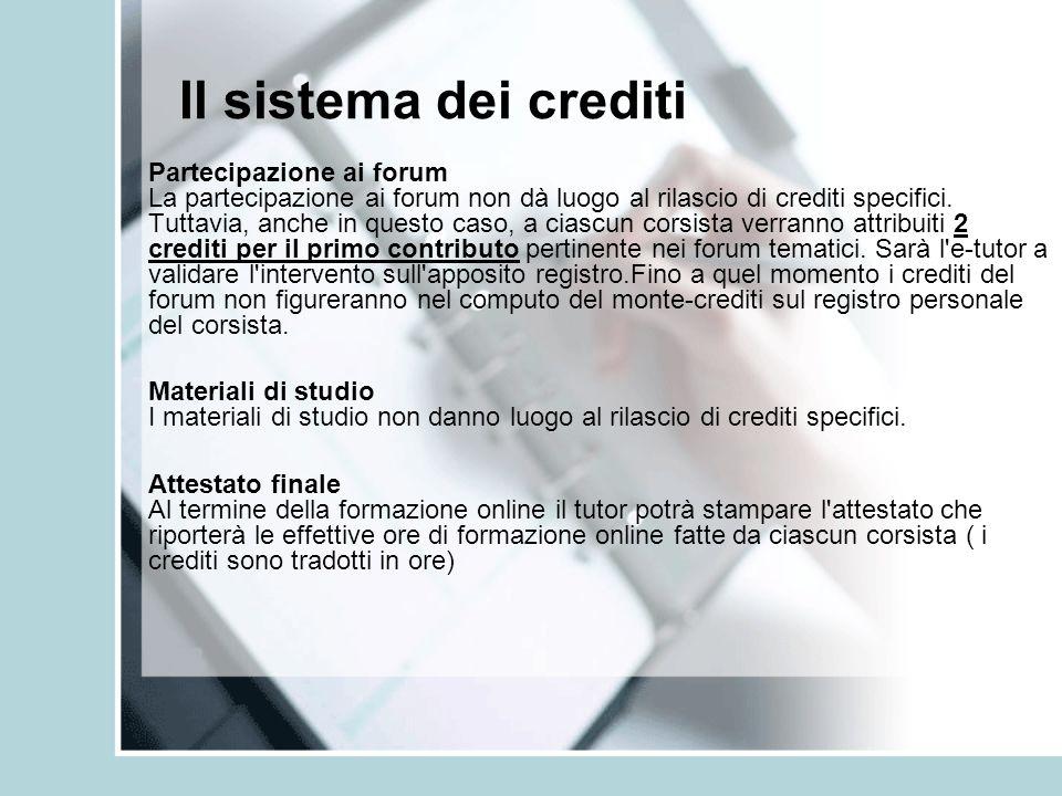 Il sistema dei crediti