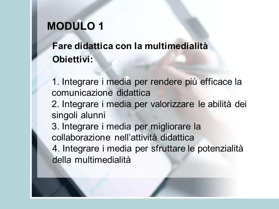 MODULO 1 Fare didattica con la multimedialità Obiettivi: