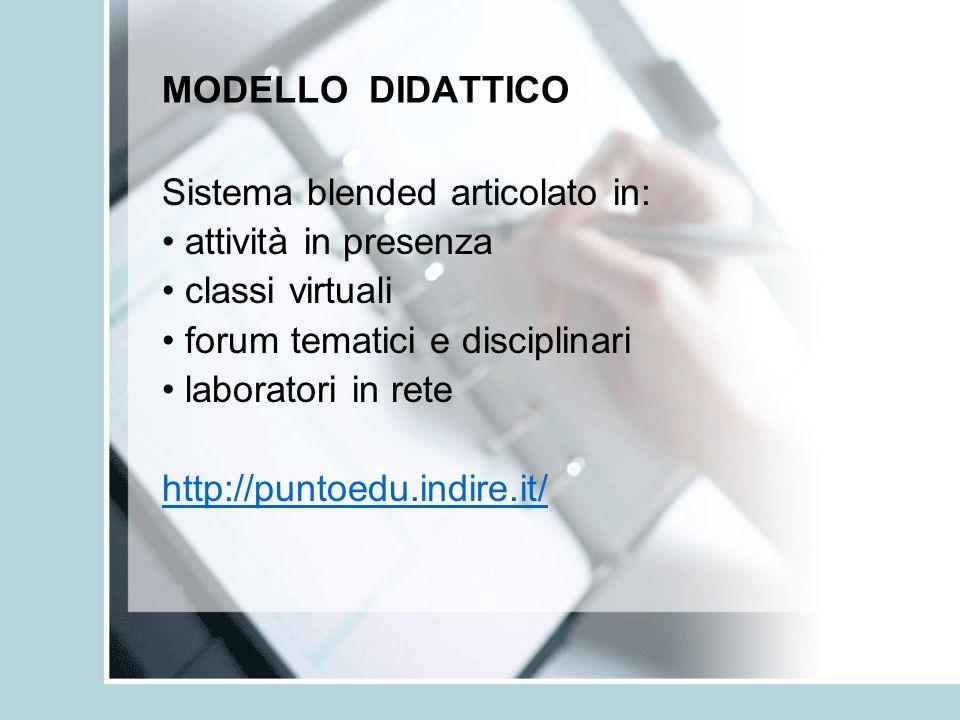 MODELLO DIDATTICO Sistema blended articolato in: • attività in presenza. • classi virtuali. • forum tematici e disciplinari.