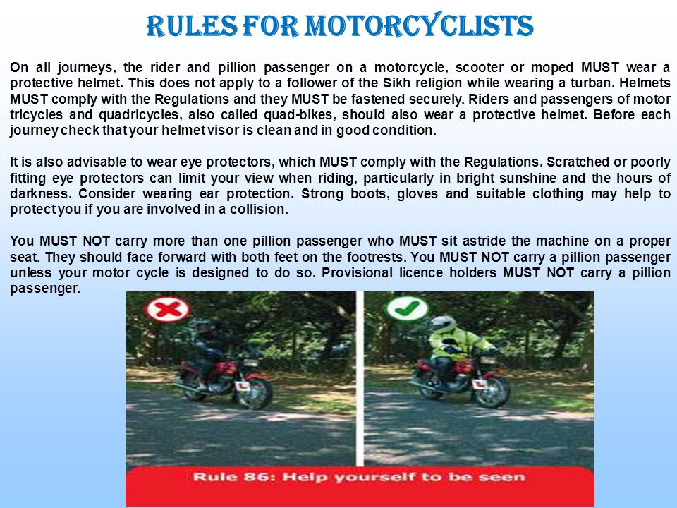 Rules for motorcyclists