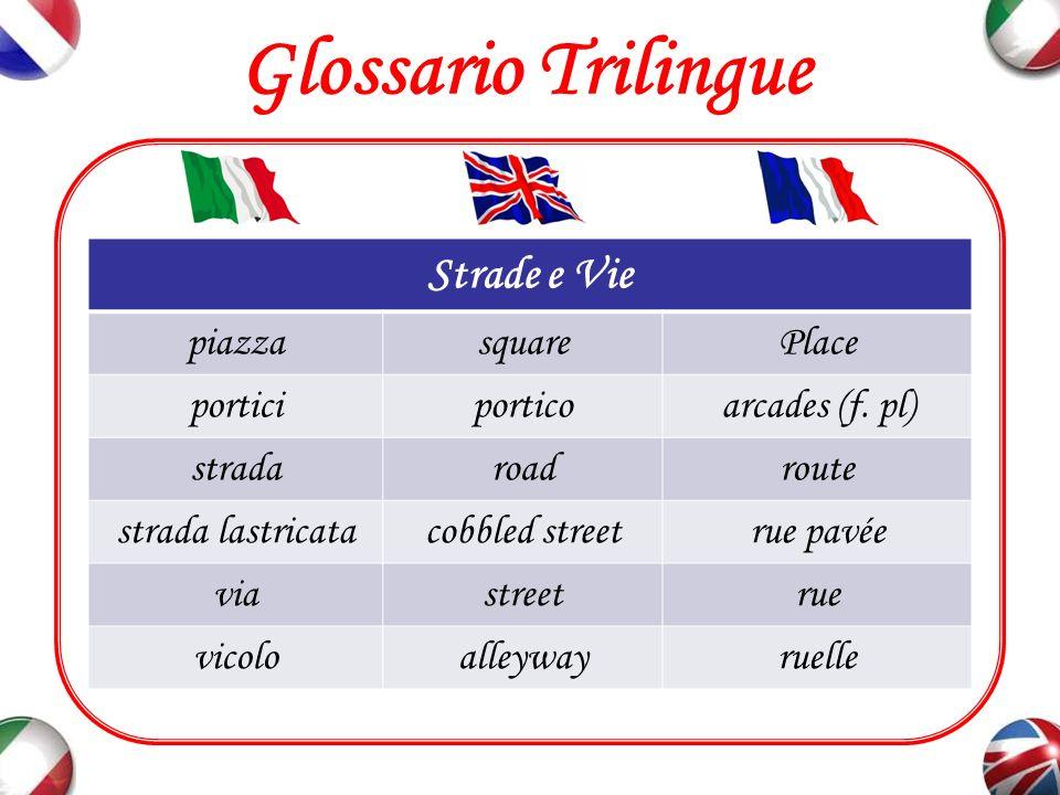 Glossario Trilingue Strade e Vie piazza square Place portici portico