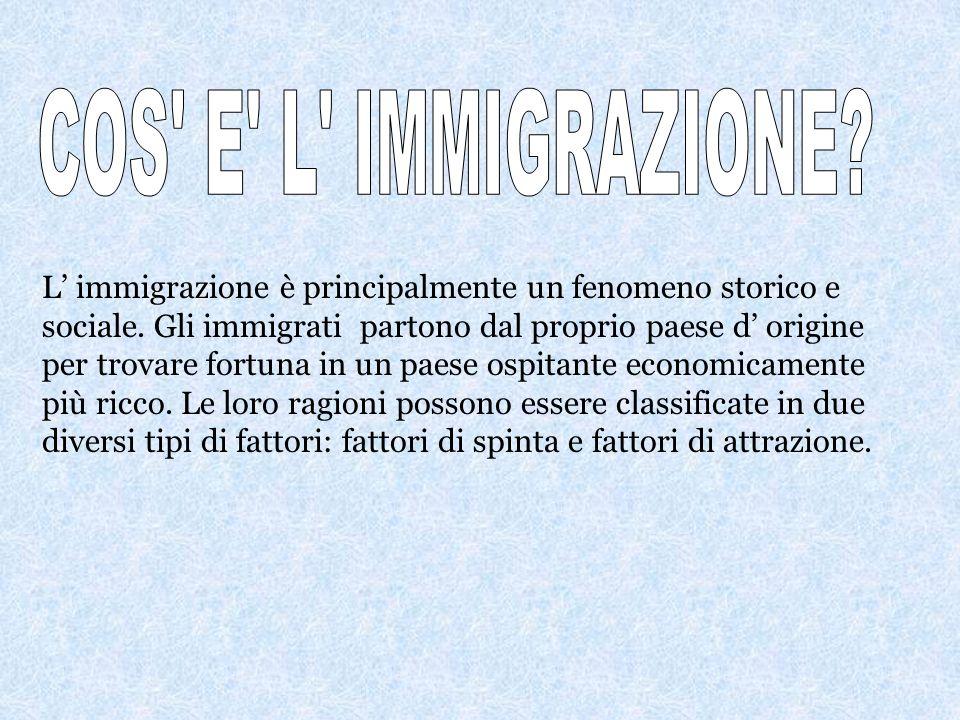 L' immigrazione è principalmente un fenomeno storico e sociale