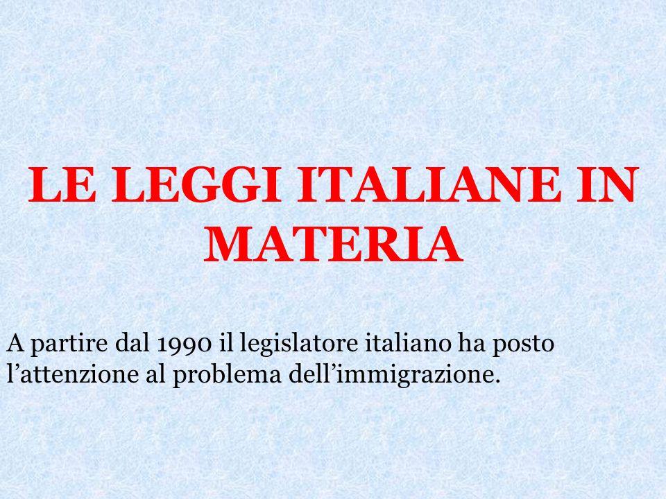 LE LEGGI ITALIANE IN MATERIA