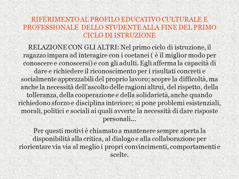 RIFERIMENTO AL PROFILO EDUCATIVO CULTURALE E PROFESSIONALE DELLO STUDENTE ALLA FINE DEL PRIMO CICLO DI ISTRUZIONE