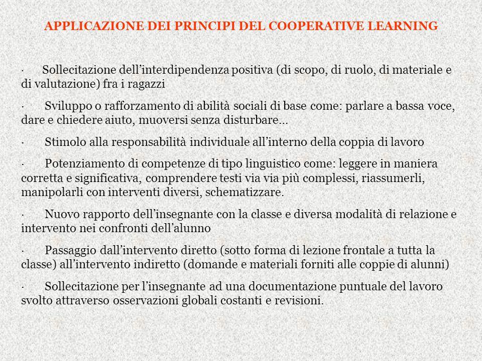 APPLICAZIONE DEI PRINCIPI DEL COOPERATIVE LEARNING