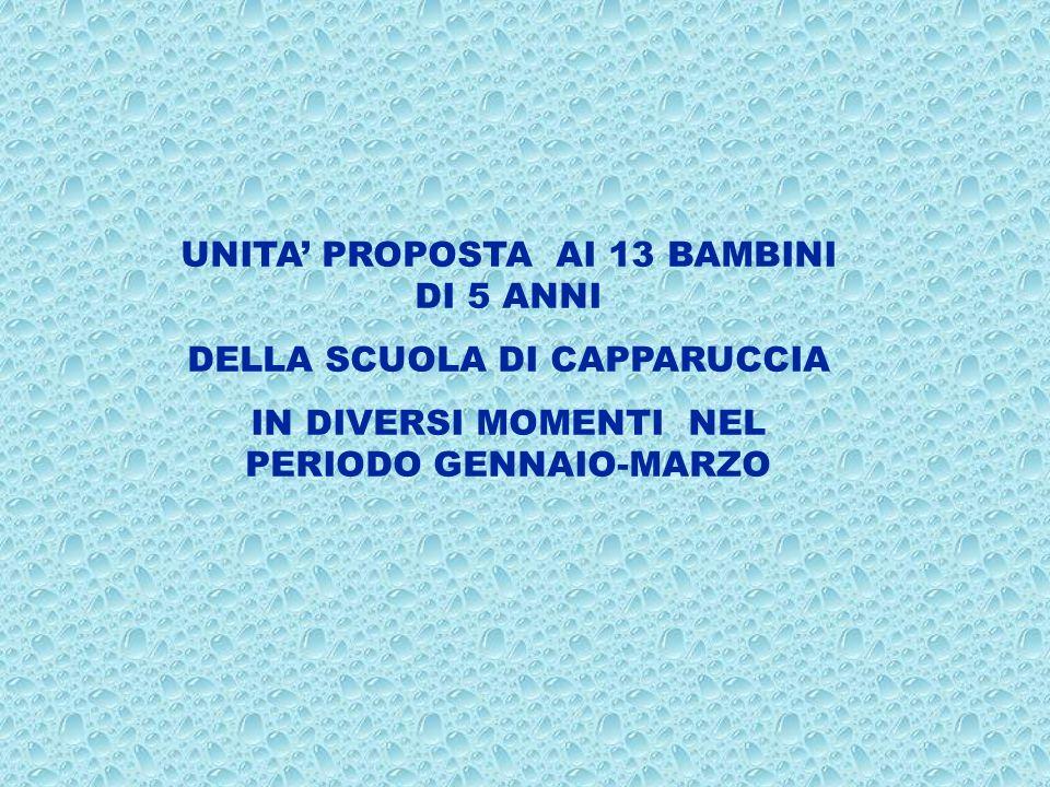UNITA' PROPOSTA AI 13 BAMBINI DI 5 ANNI DELLA SCUOLA DI CAPPARUCCIA