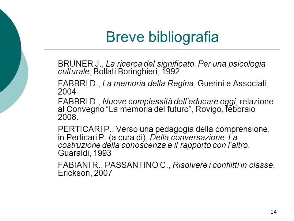 Breve bibliografia BRUNER J., La ricerca del significato. Per una psicologia culturale, Bollati Boringhieri, 1992.