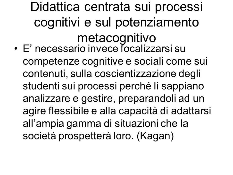 Didattica centrata sui processi cognitivi e sul potenziamento metacognitivo