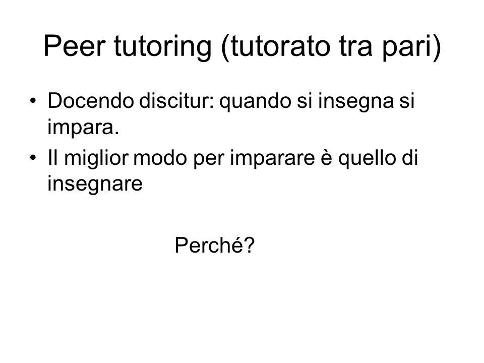 Peer tutoring (tutorato tra pari)