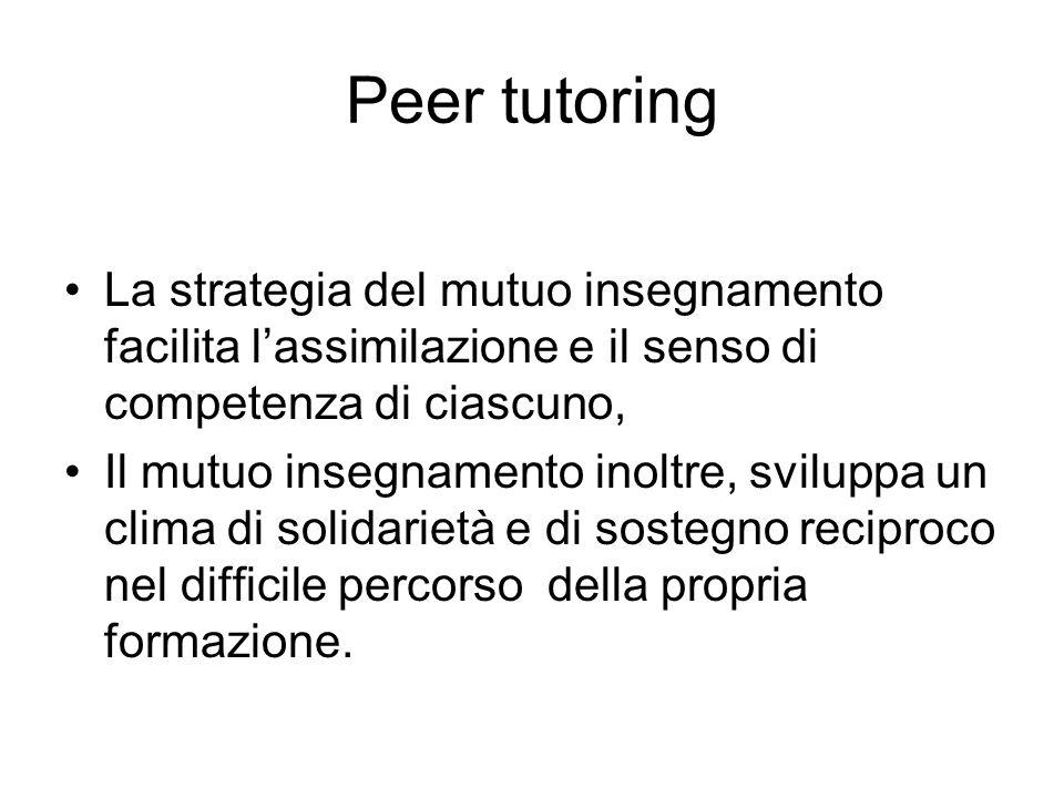 Peer tutoring La strategia del mutuo insegnamento facilita l'assimilazione e il senso di competenza di ciascuno,