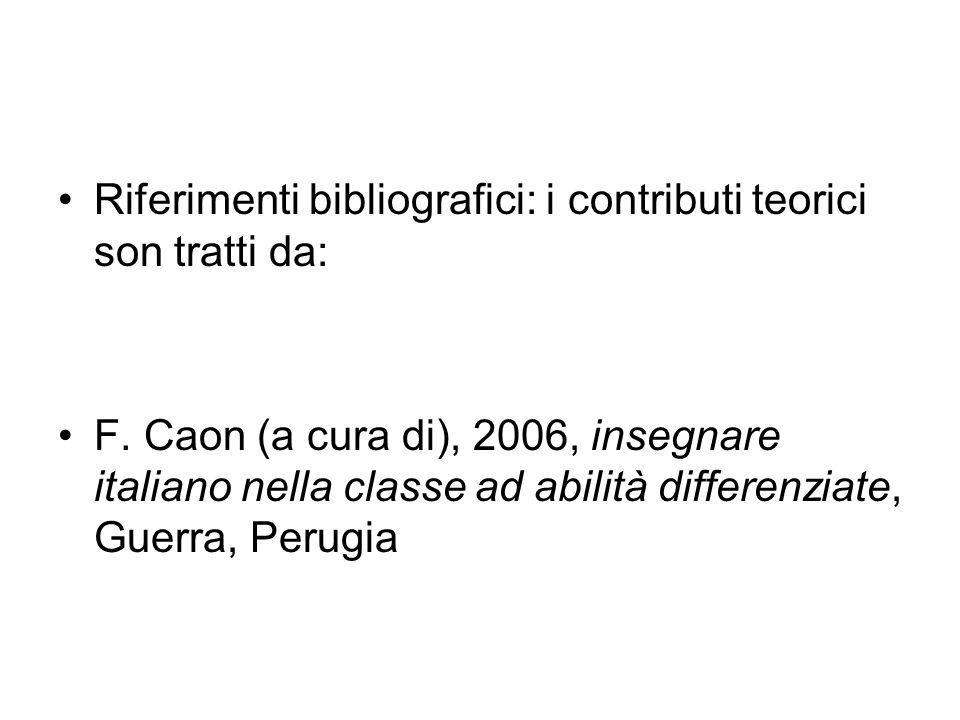Riferimenti bibliografici: i contributi teorici son tratti da: