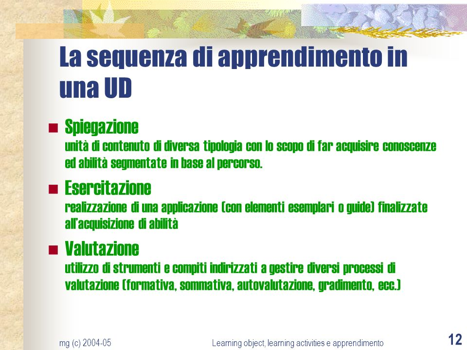 La sequenza di apprendimento in una UD