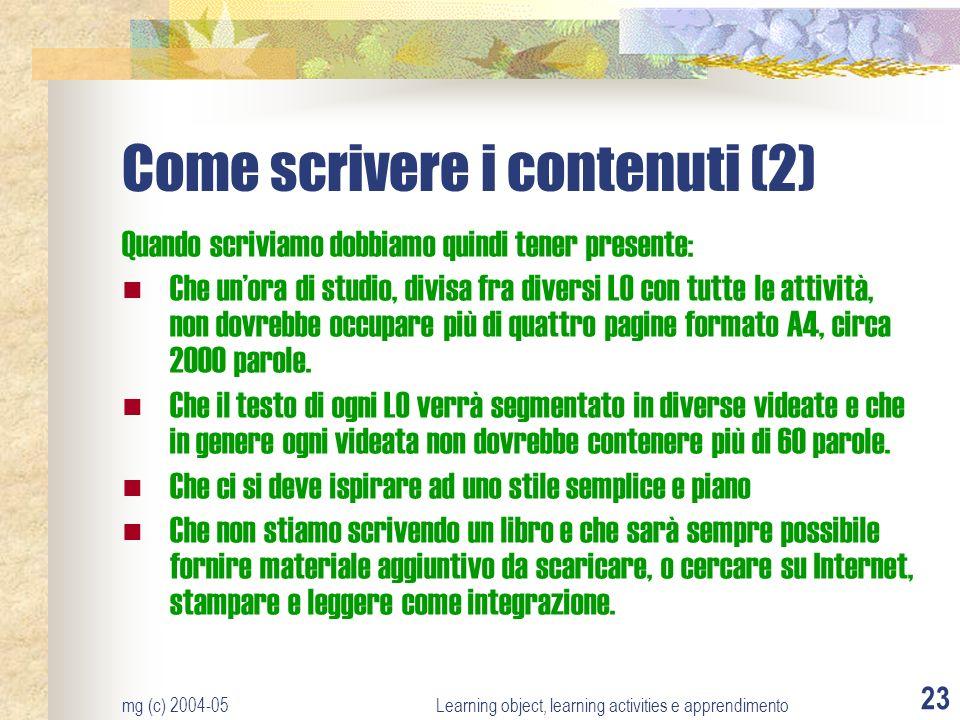 Come scrivere i contenuti (2)