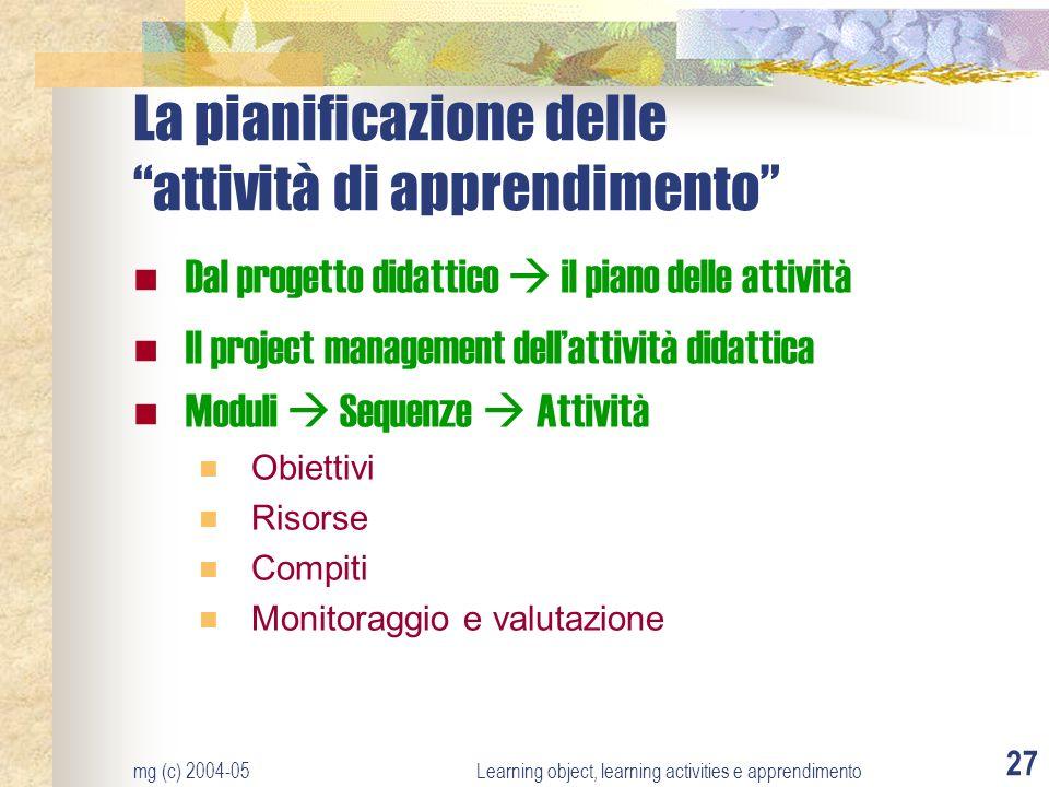La pianificazione delle attività di apprendimento