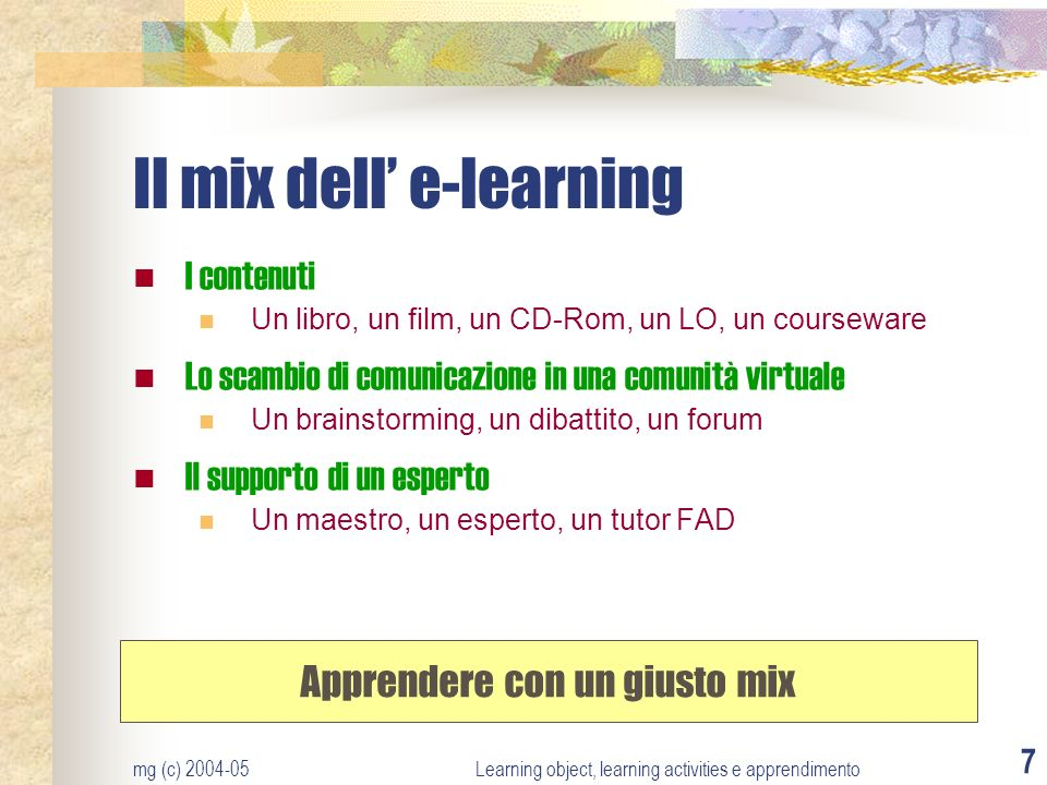 Il mix dell' e-learning