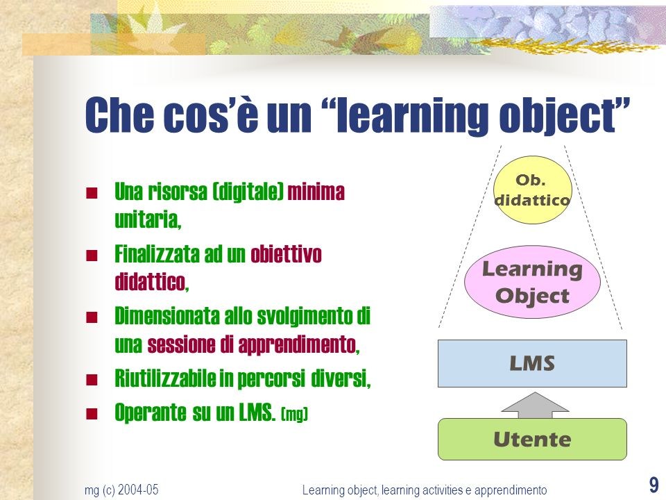 Che cos'è un learning object