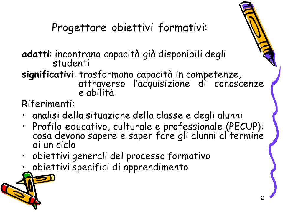 Progettare obiettivi formativi: