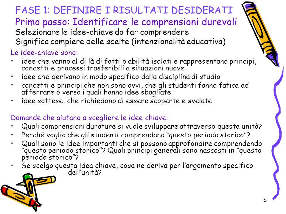 FASE 1: DEFINIRE I RISULTATI DESIDERATI Primo passo: Identificare le comprensioni durevoli Selezionare le idee-chiave da far comprendere Significa compiere delle scelte (intenzionalità educativa)