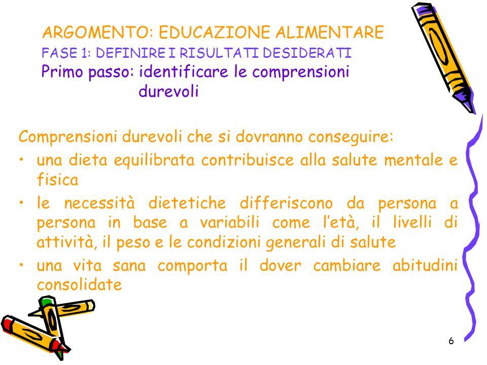 ARGOMENTO: EDUCAZIONE ALIMENTARE FASE 1: DEFINIRE I RISULTATI DESIDERATI Primo passo: identificare le comprensioni durevoli