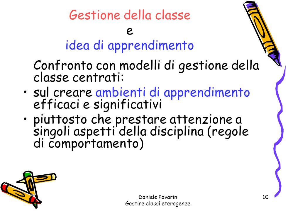 Gestione della classe e idea di apprendimento