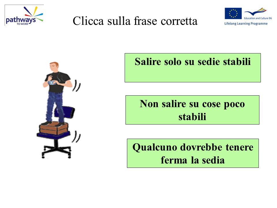 Question 5 Clicca sulla frase corretta Salire solo su sedie stabili