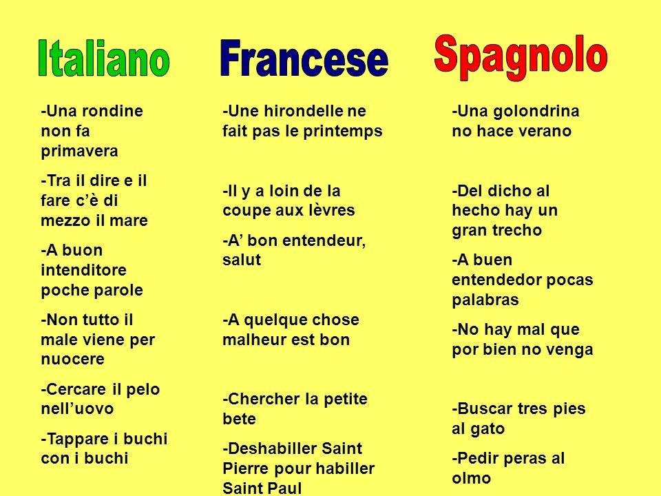 Spagnolo Italiano Francese -Una rondine non fa primavera