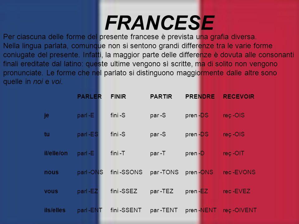 FRANCESE Per ciascuna delle forme del presente francese è prevista una grafia diversa.