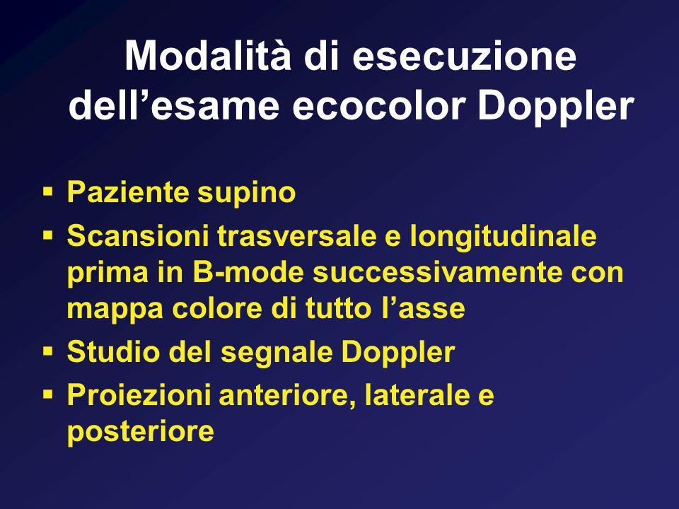 Modalità di esecuzione dell'esame ecocolor Doppler