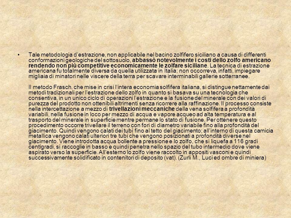 Tale metodologia d'estrazione, non applicabile nel bacino zolfifero siciliano a causa di differenti conformazioni geologiche del sottosuolo, abbassò notevolmente i costi dello zolfo americano rendendo non più competitive economicamente le zolfare siciliane.
