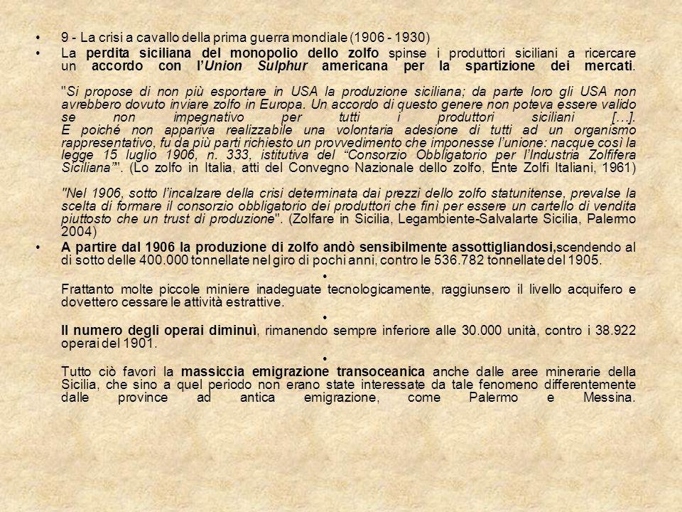9 - La crisi a cavallo della prima guerra mondiale (1906 - 1930)