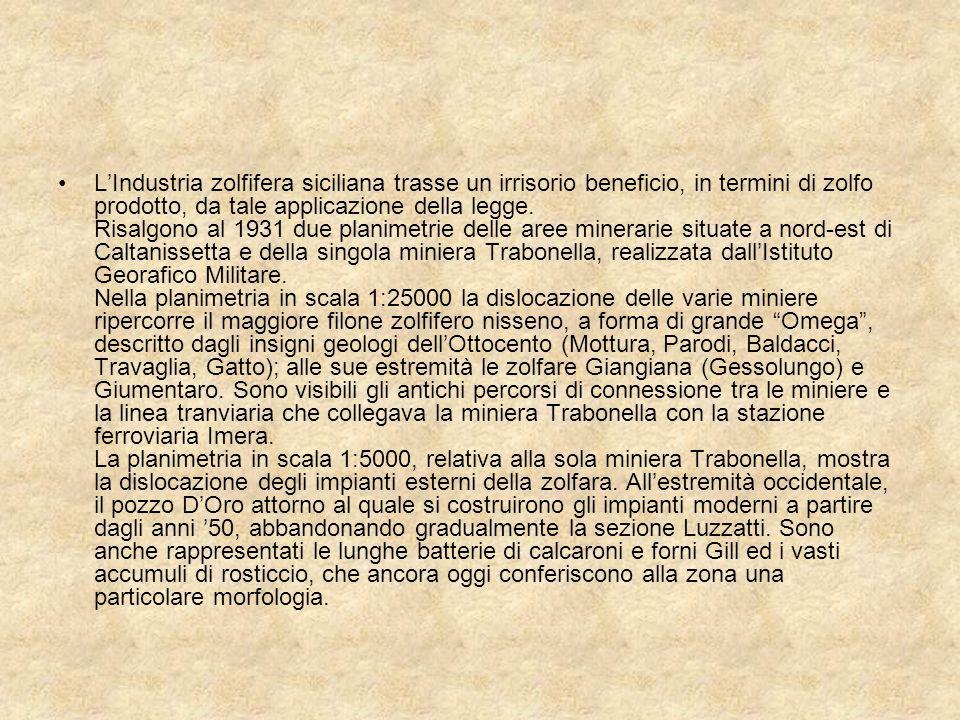 L'Industria zolfifera siciliana trasse un irrisorio beneficio, in termini di zolfo prodotto, da tale applicazione della legge.