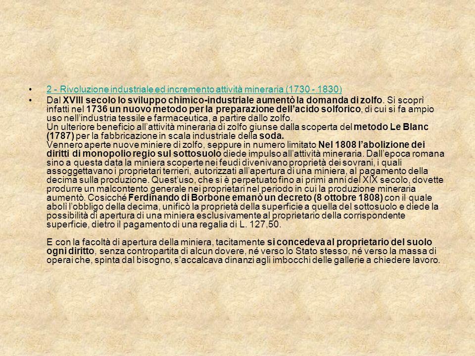 2 - Rivoluzione industriale ed incremento attività mineraria (1730 - 1830)