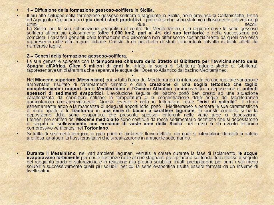 1 – Diffusione della formazione gessoso-solfifera in Sicilia.
