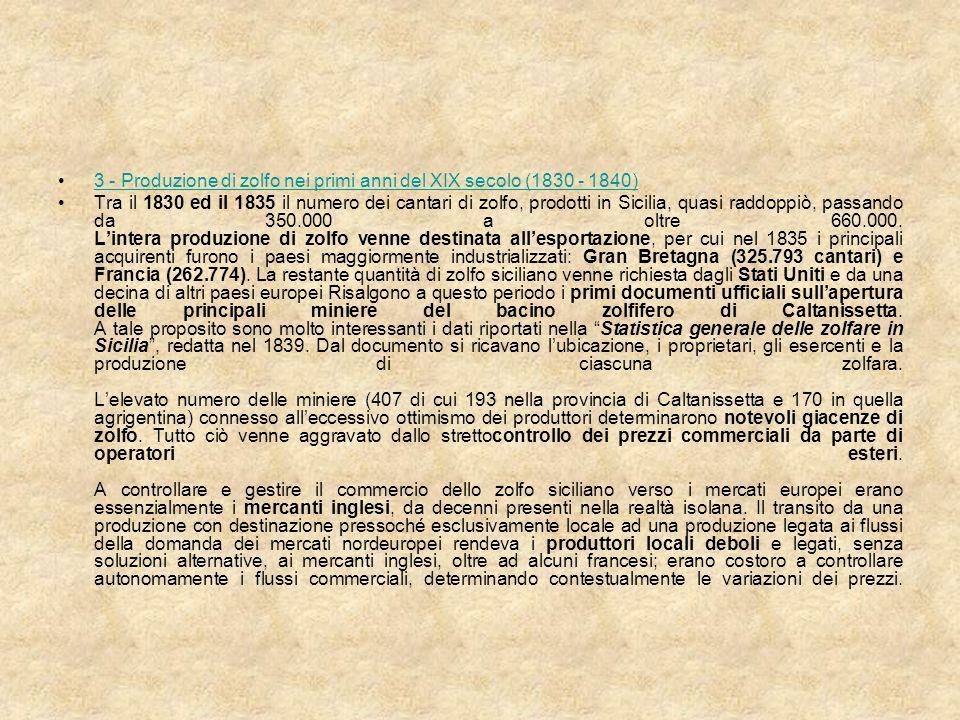 3 - Produzione di zolfo nei primi anni del XIX secolo (1830 - 1840)