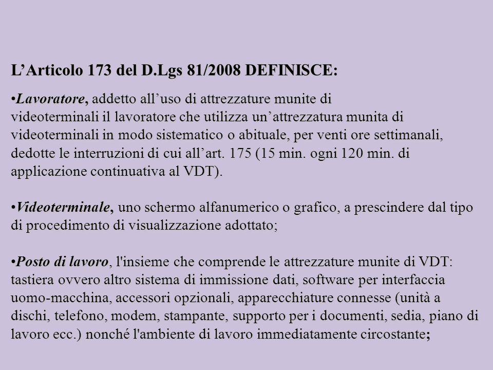 L'Articolo 173 del D.Lgs 81/2008 DEFINISCE: