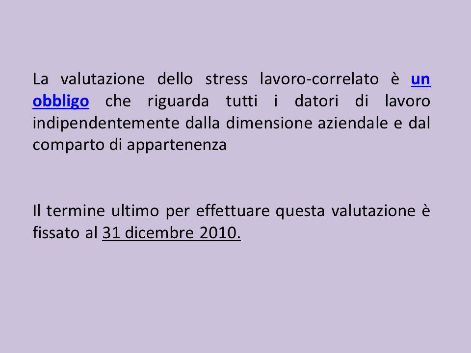 La valutazione dello stress lavoro-correlato è un obbligo che riguarda tutti i datori di lavoro indipendentemente dalla dimensione aziendale e dal comparto di appartenenza