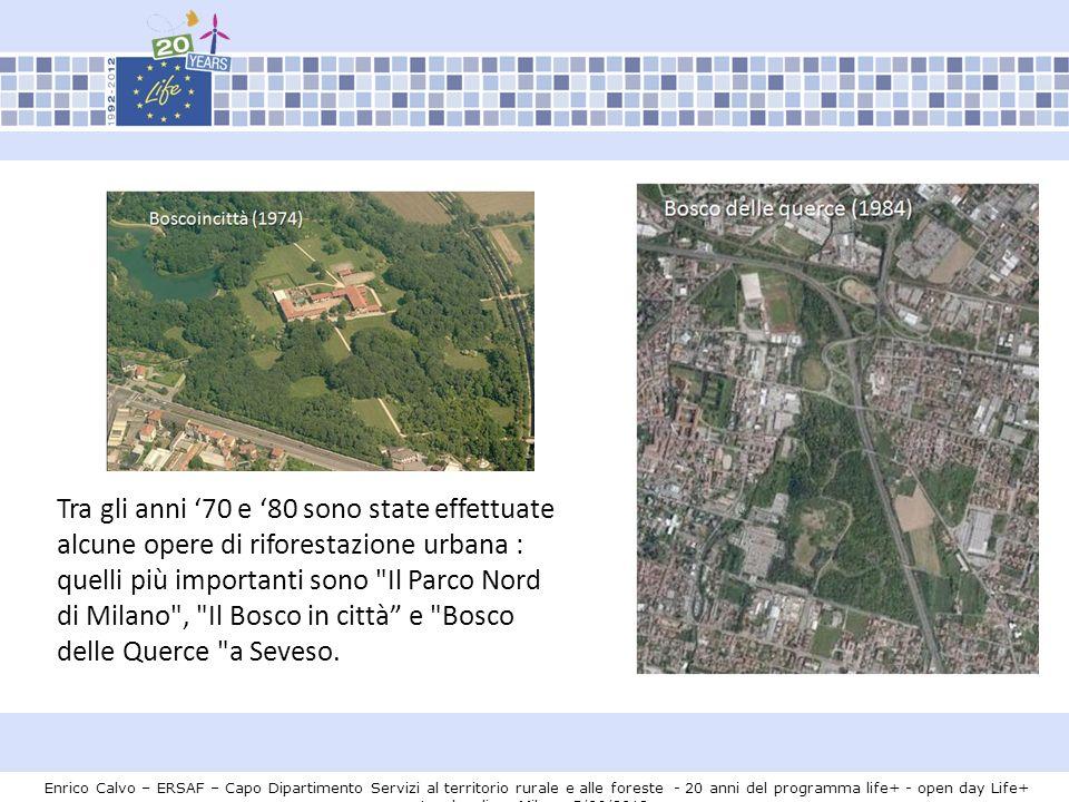 Tra gli anni '70 e '80 sono state effettuate alcune opere di riforestazione urbana : quelli più importanti sono Il Parco Nord di Milano , Il Bosco in città e Bosco delle Querce a Seveso.