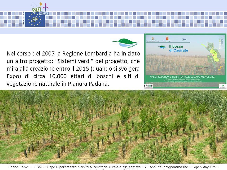 Nel corso del 2007 la Regione Lombardia ha iniziato un altro progetto: Sistemi verdi del progetto, che mira alla creazione entro il 2015 (quando si svolgerà Expo) di circa 10.000 ettari di boschi e siti di vegetazione naturale in Pianura Padana.